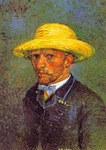 Van Gogh Self Portrait with Straw Hat Paris March April 1887